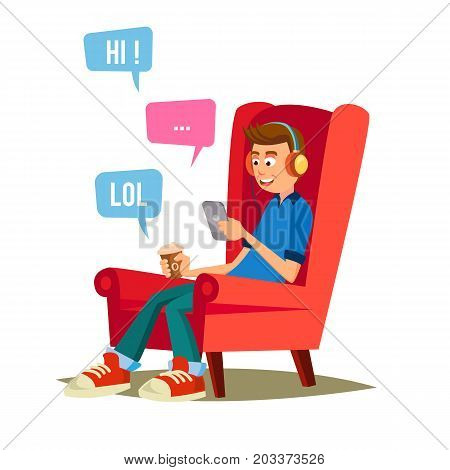 Teen Boy Vector. Teen Boy Texting With Cell Phone. Smart Phone Chatting Addiction. Cartoon Character Illustration