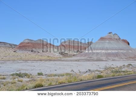Northeastern Arizona's Painted desert national park is full of blues, greys and reds