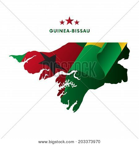 Guinea Bissau map with waving flag. Vector illustration.