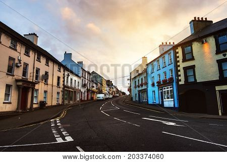 Ballycastle, Northern Ireland. Row of pubs and bars in the city of Ballycastle, Causeway coast in Northern Ireland, UK