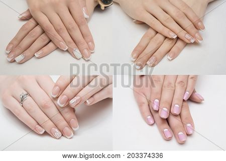 collage.Beautiful hand with perfect french manicure group photo. isolated on white background