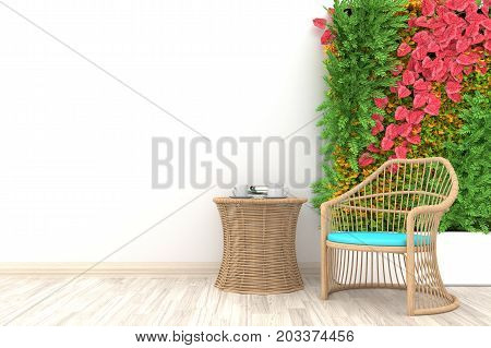 Autumn concept. White living room interior with brown rattan armchair ,coffee cup and plants on empty white wall background.3d rendering.