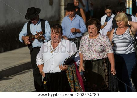 ABADIA, AMARES, PORTUGAL - August 15, 2017: Traditional religious procession of Senhora da Abadia in Amares, Portugal