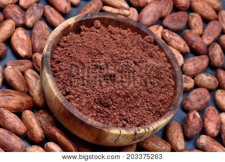Bowl with cacao powder and beans on slate close-up