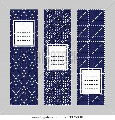 Sashiko Banner Set. Japanese Embroidery Ornaments.