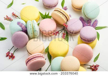 Colorful Macarons With Leaves And Red Flowers On A White Background. French Delicate Dessert