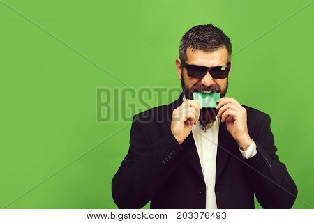 Business And Success Concept. Businessman With Empty Card, Copy Space