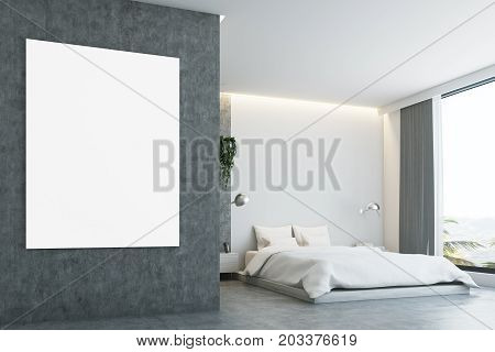 Gray And Concrete Bedroom, Poster, Closeup