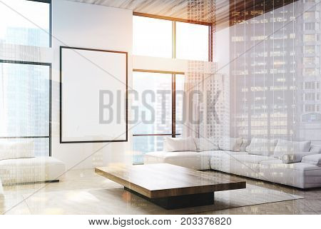 White Living Room, Sofas And A Poster Double