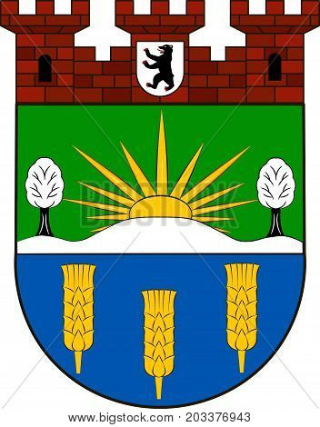 "Coat of arms of Lichtenberg is the eleventh borough of Berlin Germany. Vector illustration from the ""Heraldry of the World"" authors and compilers Olga Bortnik Ivan Rezko 2008 poster"