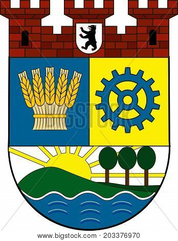 Coat of arms of Lichtenberg is a locality of Berlin Germany. Vector illustration from the