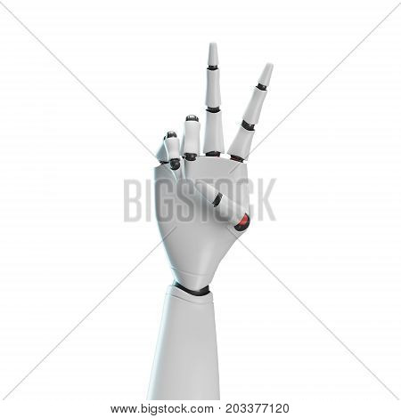 Close up of a white robot or an android hand showing a victory sign against a white background. 3d rendering poster
