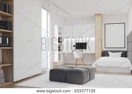 White Bedroom And Home Office, Single, Side