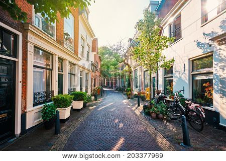 HAARLEM, NETHERLANDS - MAY 6, 2017: Street with old houses in Haarlem, Netherlands