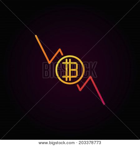 Bitcoin decreasing graph colorful icon - vector cryptocurrency decline concept outline symbol on dark background