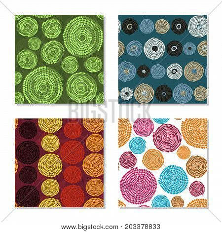 Four simple backgrounds. Seamless patterns. Colorful dots and circles. Plain abstract textures. For decoration, wallpaper or pattern fills.