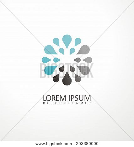 Creative logo design concept made from water drops. Symmetric symbol layout.