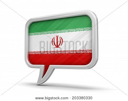 3d illustration. Speech bubble with Iranian flag. Image with clipping path