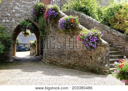 Doorway in an ancient stone building in rural france