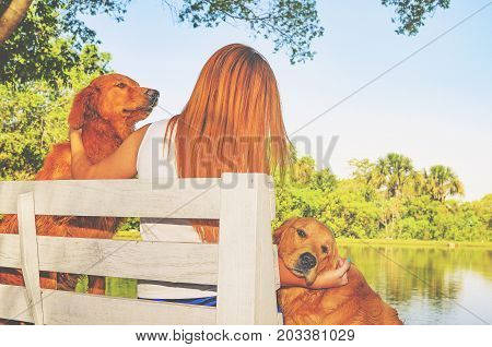 Girl With Red Hair Seated On A Bench From A Farm With Her Two Dogs