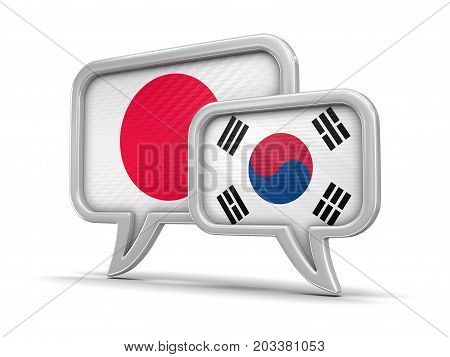 3d illustration. Speech bubbles with flags. Image with clipping path