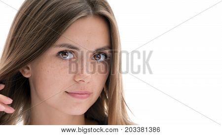 Beautiful European girl photographed on isolated white background