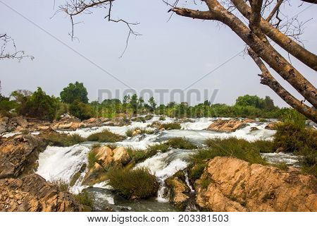 Liphi waterfall the great waterfall in Mekhong river
