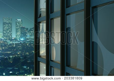 Abstract glass building with visible office interiors on iiluminated night city background. Business finance and workplace concept. 3D Rendering