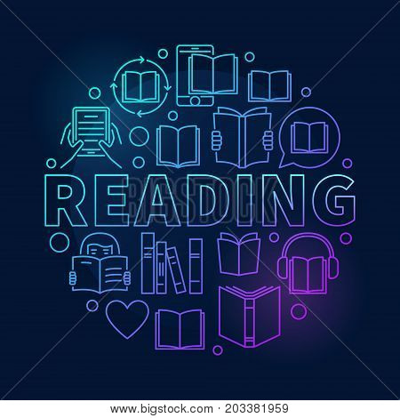Reading round colorful illustration. Vector read books linear symbol made with word READING and book icons on dark background