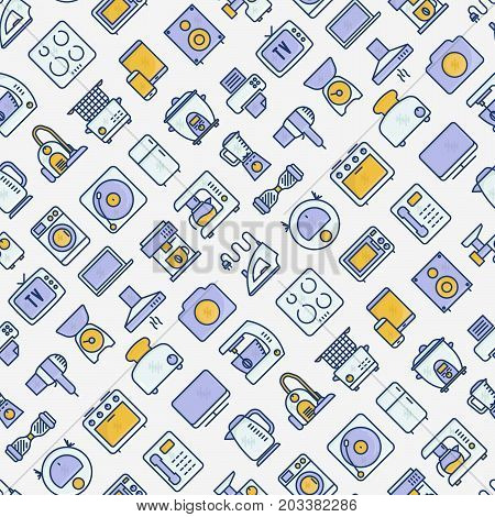 Home appliances seamless pattern with thin line icons: refrigerator, coffee machine, microwave, fryer. Household vector illustration for banner, web page, print media.