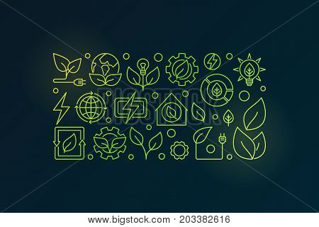 Bioenergy outline illustration. Vector renewable green energy concept banner in thin line style on dark background