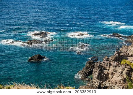 A view of a rocky shoreline on the Northwest area of Maui Hawaii.