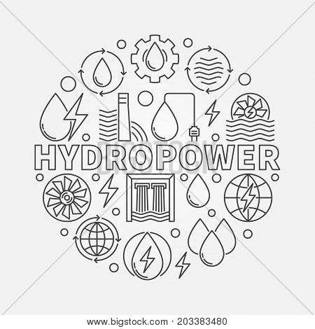 Hydropower round illustration - vector water power concept symbol in thin line style