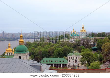 KIEVm UKRAINE - MAY 3, 2011: This is an aerial view of the buildings of the lower part of the Kiev-Pechersk Lavra.