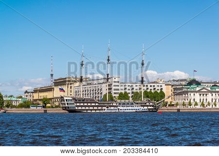 St. Petersburg, Russia - June 04. 2017. a view of the Petrine quay and the Frigate Grace