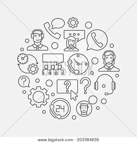 Customer service round vector illustration. Customer support and care concept circular outline symbol