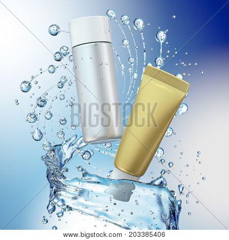Cream bottle mock up in water splash on blue background. 3D illustration