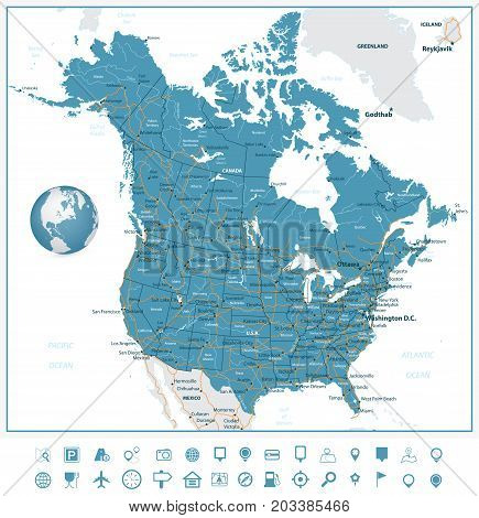 USA Canada Road Map Vector & Photo (Free Trial)   Bigstock