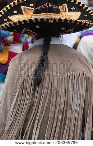 June 24 2017 Cotacachi Ecuador: indigenous kichwa man wearing a sombrero at the Inti Raymi parade at summer solstice