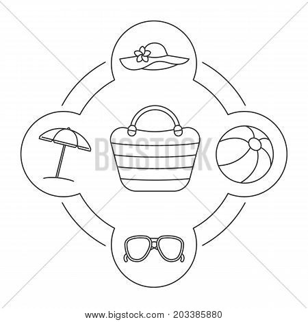 Woman's beach bag contents linear icons set. Sunglasses, beach umbrella, ball and hat. Isolated vector illustrations