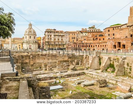 ROME, ITALY - AUGUST 30, 2013: Roman Forum. Ruins of times of the Roman Empire. Rome, Italy