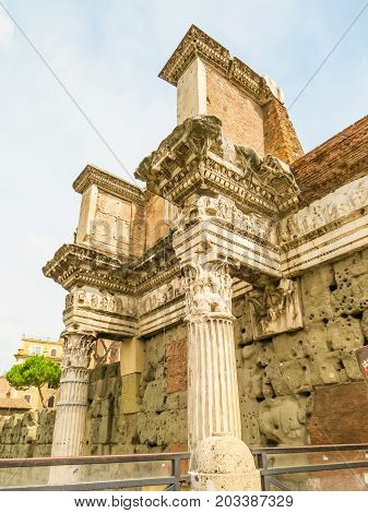 Parts of building of the Roman Forum. Ruins of times of the Roman Empire. Rome, Italy