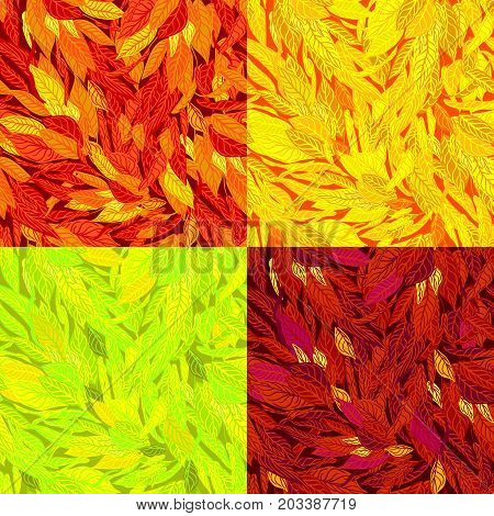 Vector seamless background with colorful illustration of autumn leaves in a modern style. Can be used for wallpaper, pattern fills, web page, textures, textile print, wrapping paper,