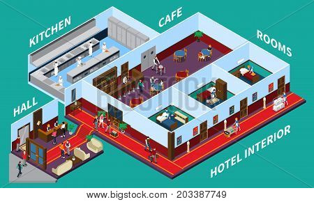 Hotel interior isometric design with staff and clients rooms cafe hall kitchen on green background vector illustration