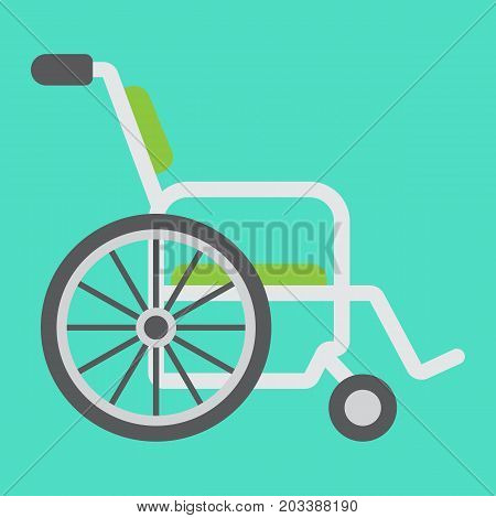 Wheelchair flat icon, medicine and healthcare, disabled sign vector graphics, a colorful solid pattern on a cyan background, eps 10.