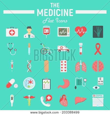 Medicine flat icon set, medical symbols collection, healthcare vector sketches, logo illustrations, anatomy signs colorful solid pictograms package isolated on cyan background, eps 10.