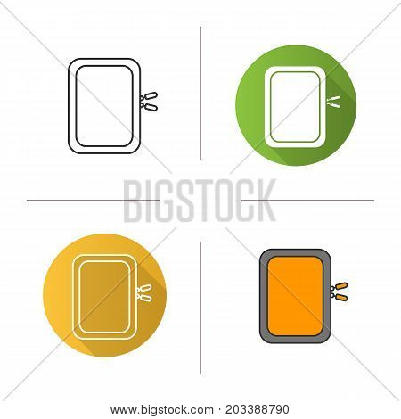 Gadget protective case icon. Flat design, linear and color styles. Isolated vector illustrations