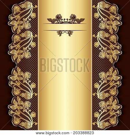 Ornate vintage burgundy background with golden lace. Template for greeting card invitation or cover. Vector illustration.