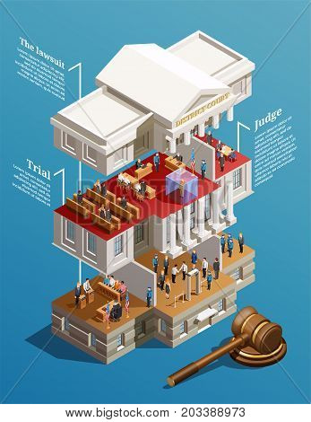 Law infographic isometric composition with sectional view of court building with text captions for each floor vector illustration