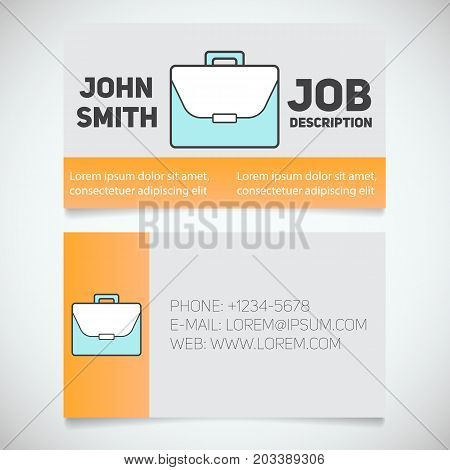 Business card print template with briefcase logo. Manager. Work management. Businessman. Advocate. Lawyer. Stationery design concept. Vector illustration